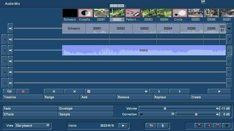 Audiomix with Bogart Storyboard view